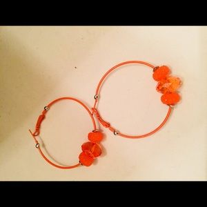 Jewelry - Bright Orange hoop approximately 1.5 inch